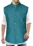 Modi Jacket for Men Teal Nehru Vest Five Button Partywear