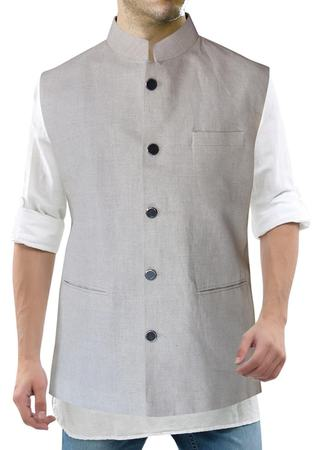 Mens Natural Color Nehru Collor Vest Five Button