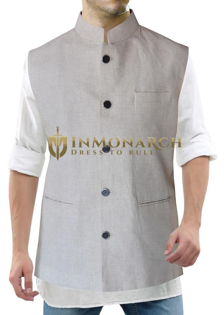 Mens Waistcoat Natural Color Nehru Collor Vest Nehru Jacket
