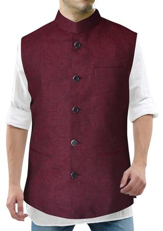 Mens Wine Linen Nehru Vest Wedding