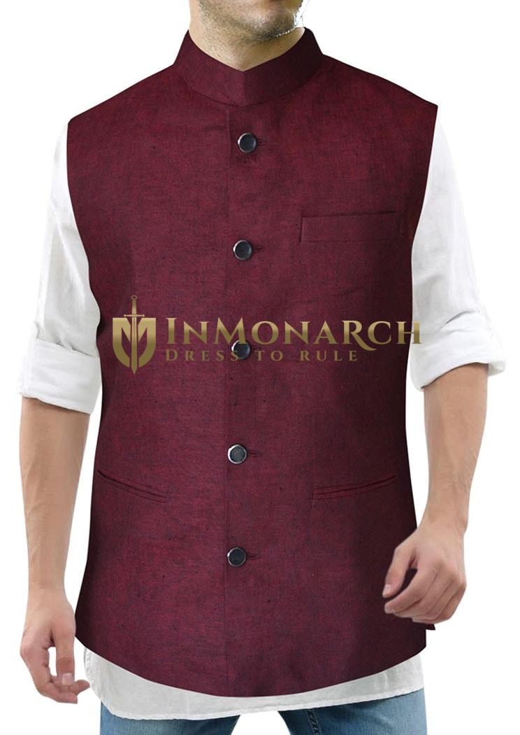 Burgundy Mens Traditional Linen Nehru Vest for Summers