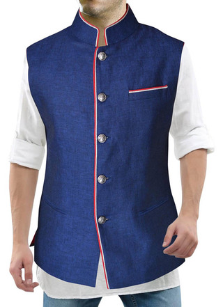 Blue Linen Mens Nehru Waistcoat with fashionable look for Beach Wedding