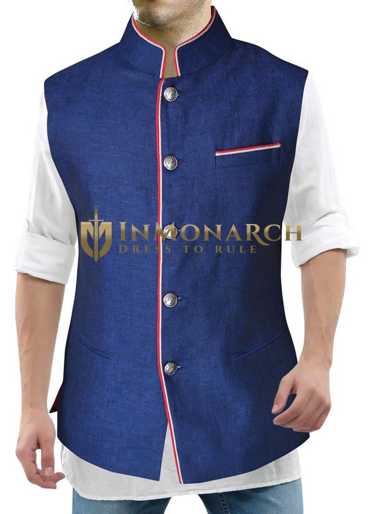 Mens Denim Blue Nehru Vest Handsome 3 Pocket