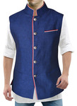 Mens Denim Blue Nehru Vest Handsome 3 Pocket