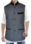 Mens Gray Nehru Vest Exclusive Linen