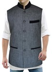 Mens Gray Linen Nehru Vest Velvet Trimming