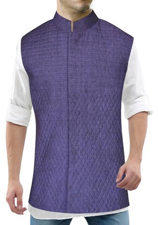 Mens Purple Nehru Vest Stylish look Hidden Button