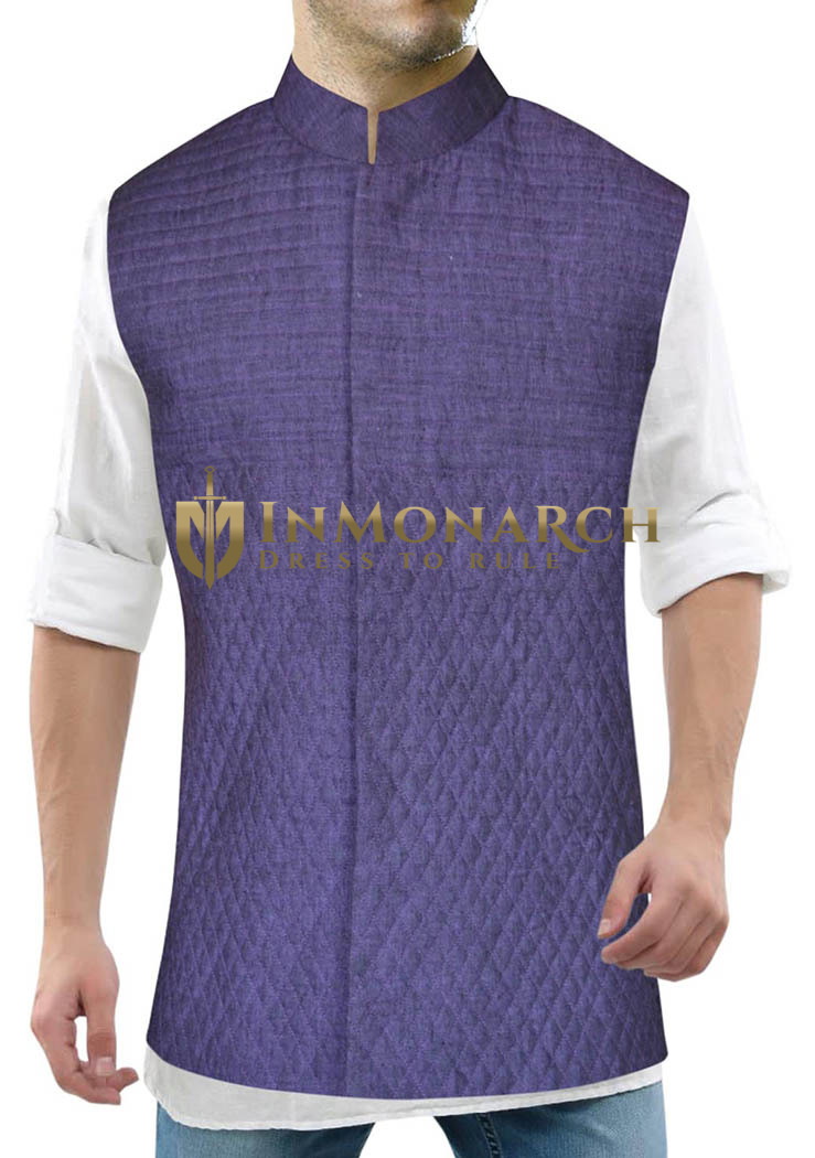 Mens Purple Nehru Jacket Threading Work Indian Vest