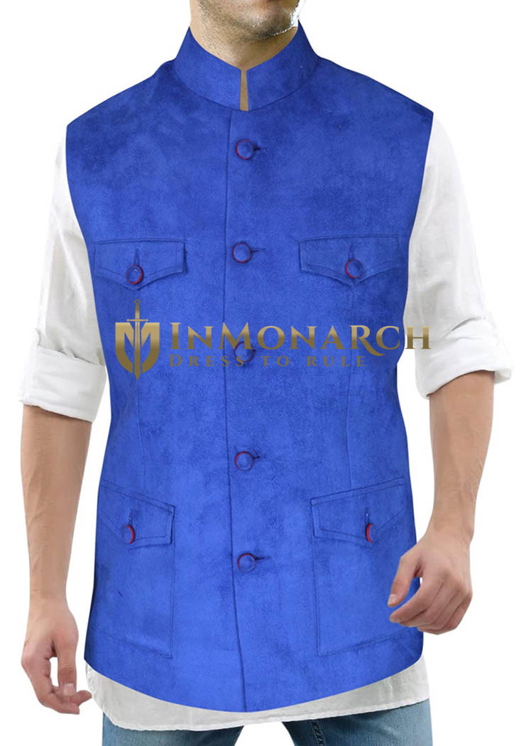 Mens Blue Velvet Nehru Vest Traditional 5 Button