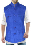 Mens Blue Waistcoat Nehru Vest Traditional Modi Jacket