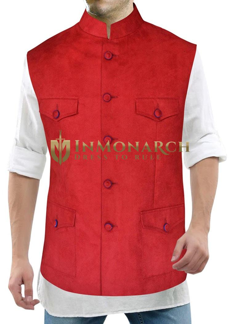 Mens Red Nehru Vest Designer 5 Button