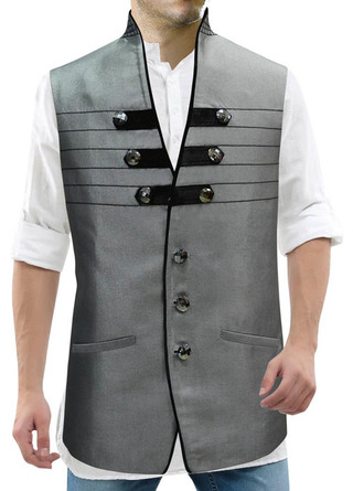 Mens Gray Polyester Vest Designer High Neck