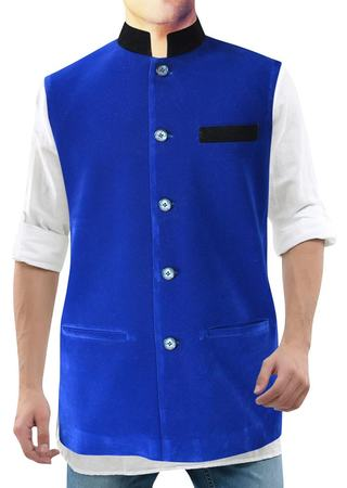 Mens Blue Velvet Nehru Vest 5 Button Ethnic