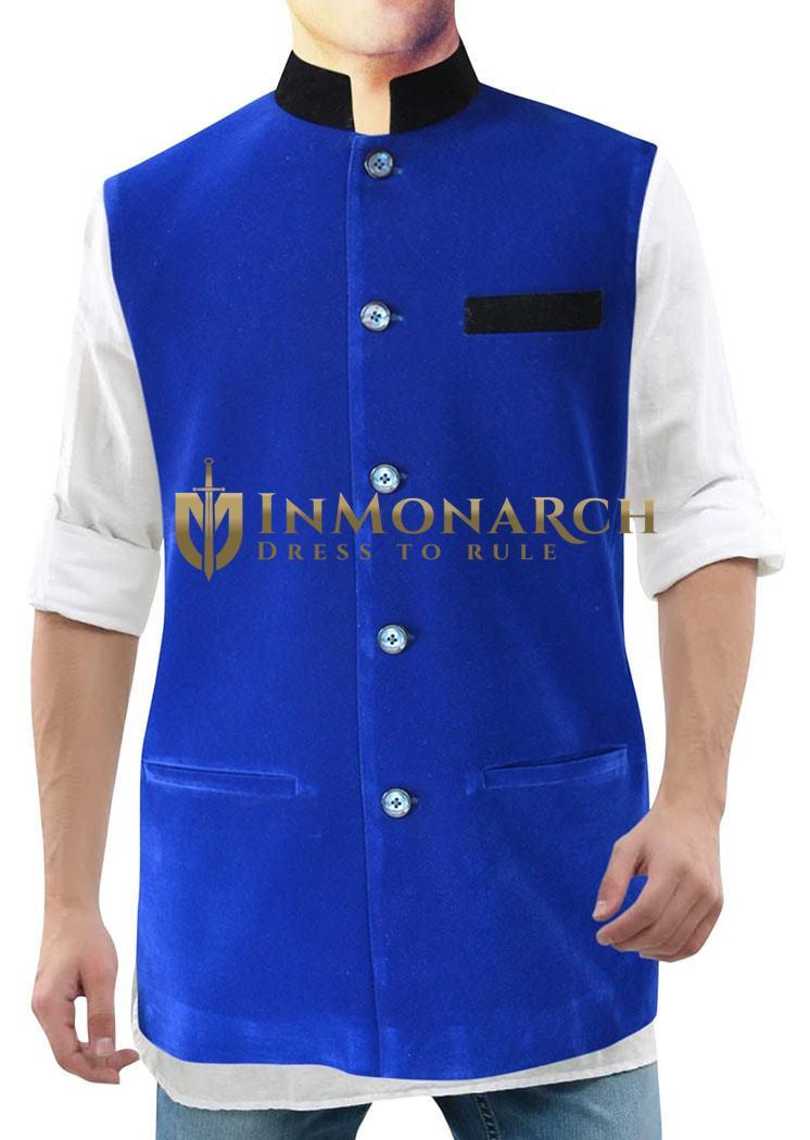 Mens Blue Velvet Nehru Vest Awesome 5 Button