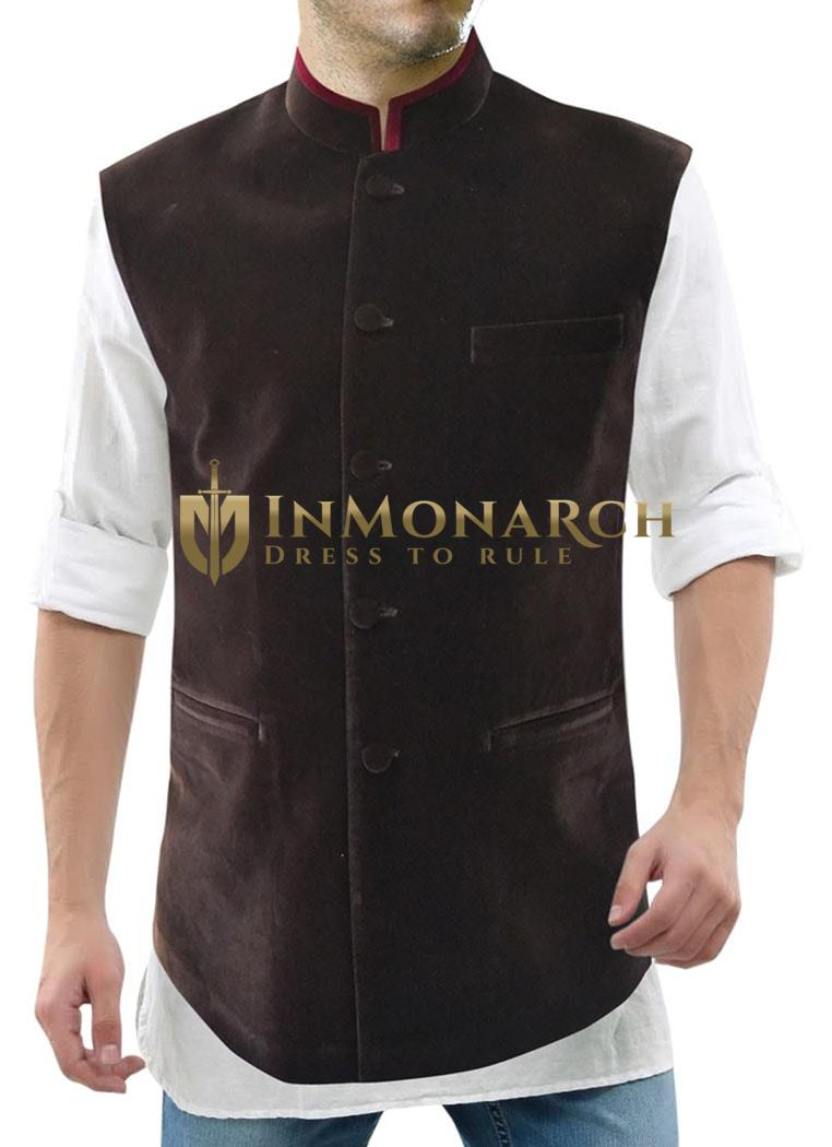 Mens Brown Modi Jacket Traditional Festive Vest