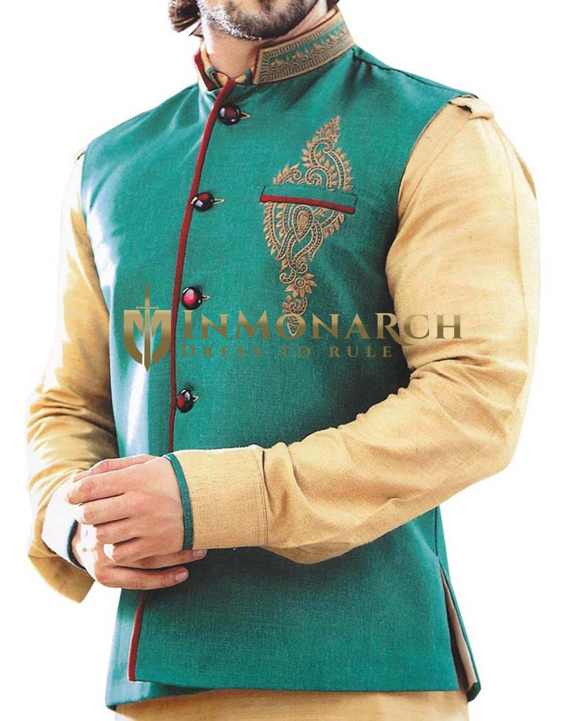Mens Nehru Jacket Teal Indian Vest Designer