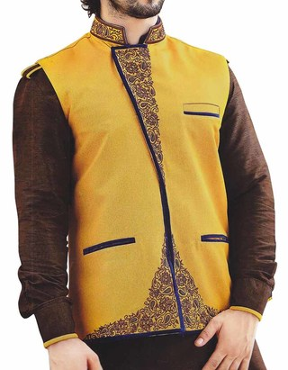 Mens Yellow Nehru Vest Embroidered Angrakha style