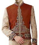 Mens Brown Waistcoat Attractive Heavy Embroidered