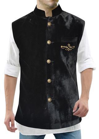 Mens Black Velvet Nehru Vest Dazzling Look