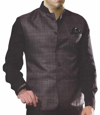 Mens Grey Nehru Vest Formal Checks 5 button