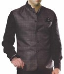 Mens Grey Nehru Waistcoat Formal Checks Nehru Jacket