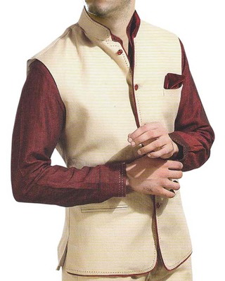 Mens Cream Nehru Collar Vest Velvet Piping Waistcoat