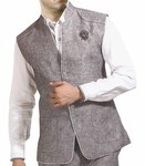 Mens Gray Linen Nehru Vest Traditional 3 Button