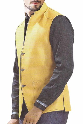 Mens Yellow Waistcoat NAMO Vest Patch Pocket Nehru Jacket
