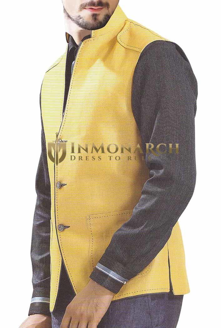 Mens Yellow NAMO Vest Stylish look 3 Button