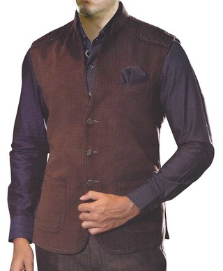 Mens Brown Nehru Vest 3 Button Open Neck Waistcoat