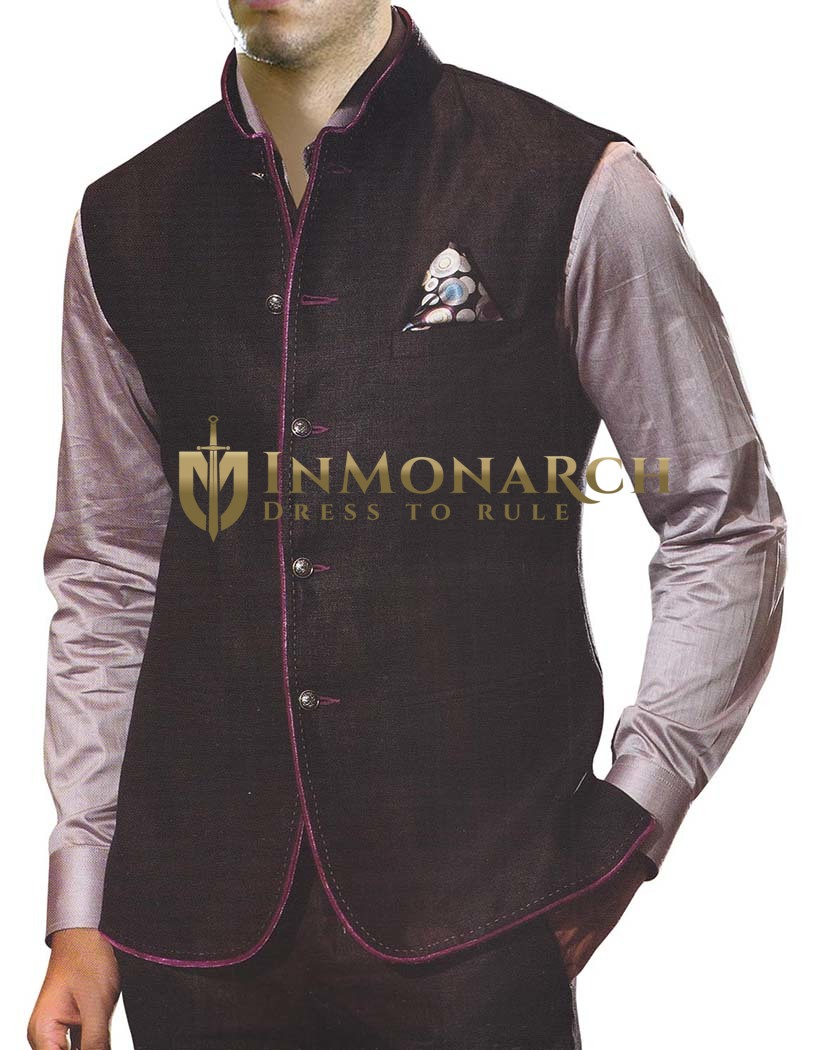 Mens Black Linen Vest For Travel 5 Button