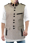 Mens Natural Nehru Vest Safari 8 Button