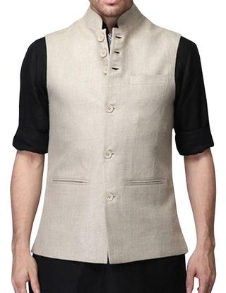 Mens Natural Linen Nehru Vest Stylish 6 Button