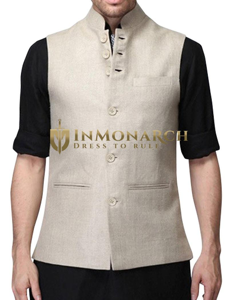 Fashionable Mens Nehru Vest In Natural linen