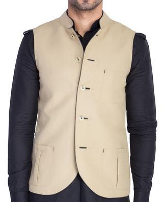 Mens Beige Waistcoat Nehru Jacket Festive Vest