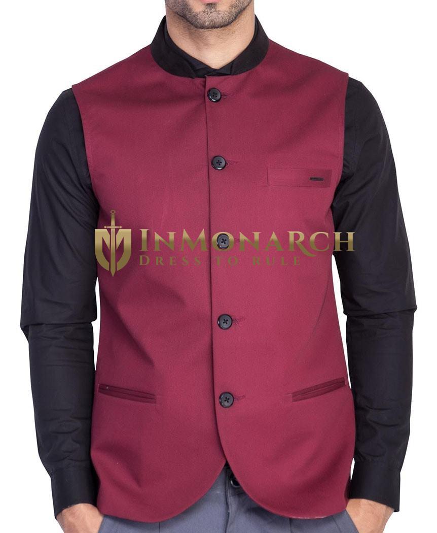 Mens Maroon Polyester Nehru Vest Partywear