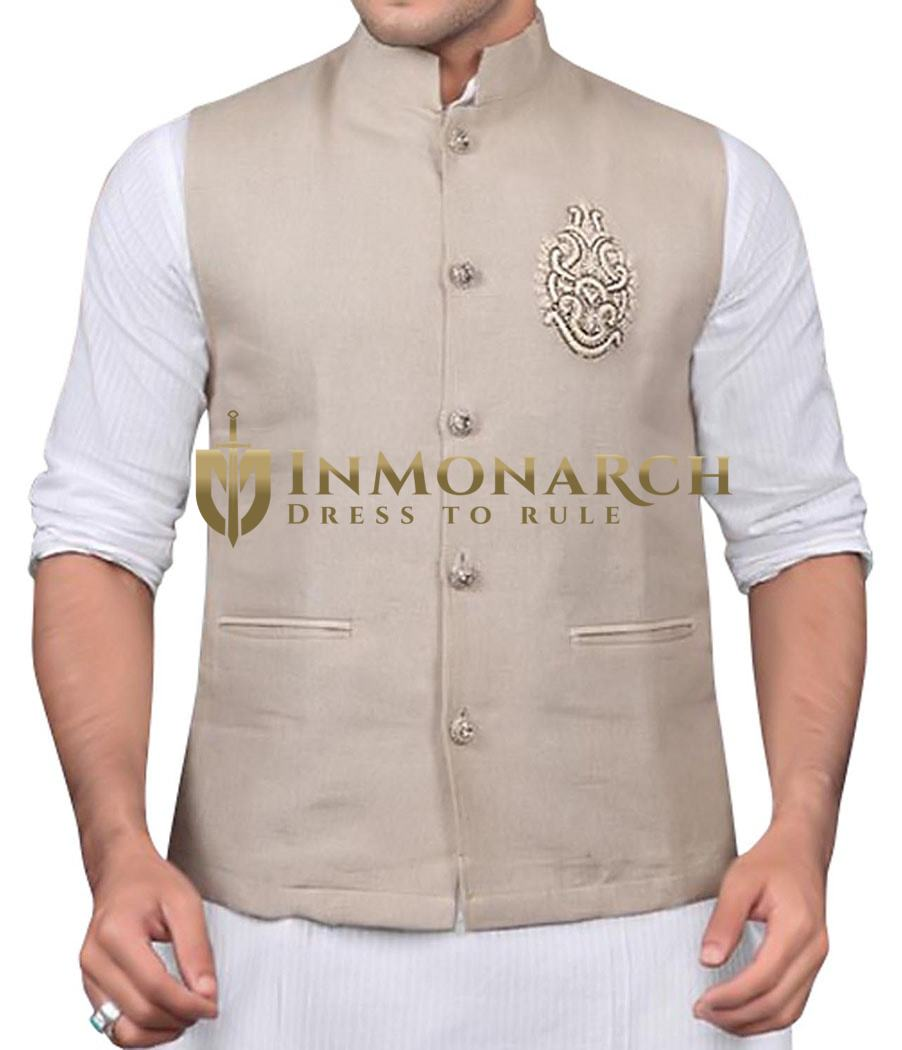 Mens Natural Linen Nehru Vest Embroidered 5 Button