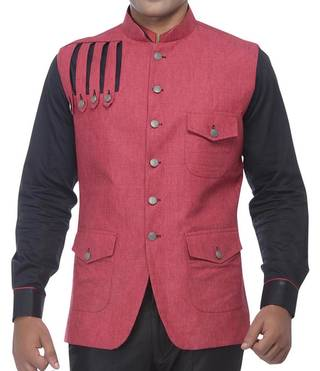 Mens Red Linen Indian Vest Nehru waistcoat Designer
