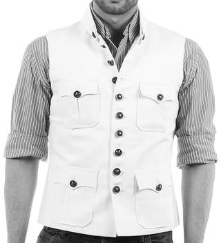 Mens White Linen Nehru Vest 4 Pocket