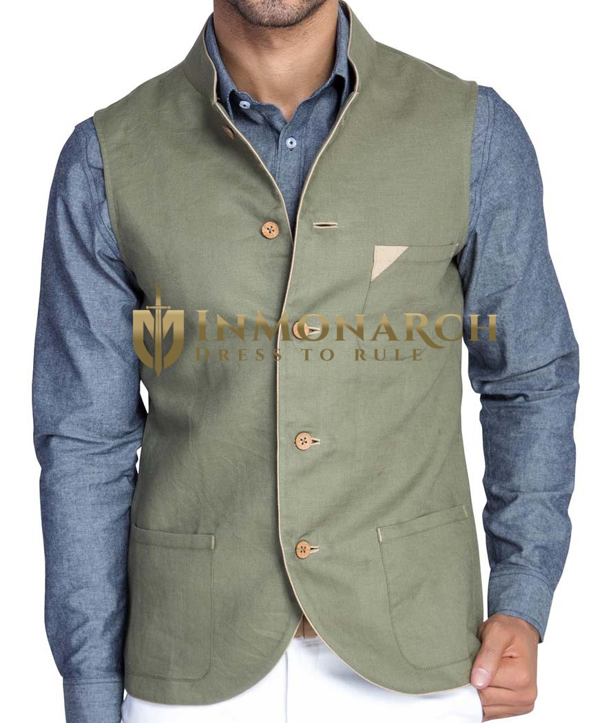 Mens Olive Drab Linen Nehru Vest 5 Button