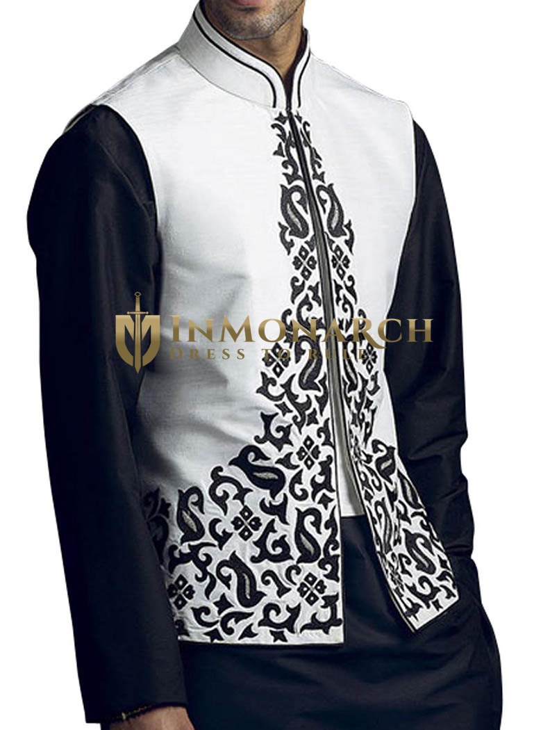 Mens White Linen Nehru Vest Perfect Look