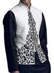 Mens White Linen Nehru Vest for Summer Wedding