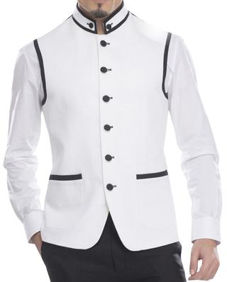 Mens White Linen Nehru Vest Fashionable 6 Button