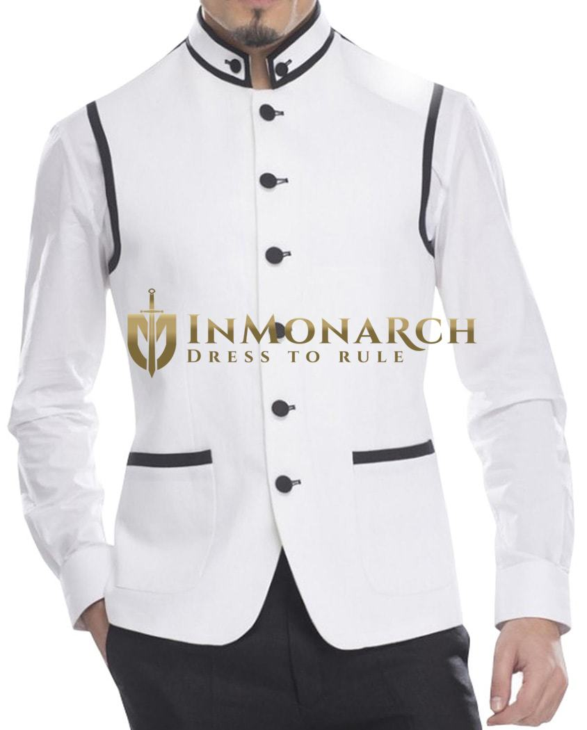 Mens White Linen Nehru Vest 6 Button