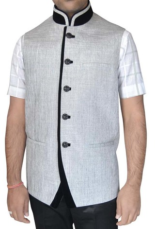 Mens Cream Indian jacket Nehru Vest Jodhpuri 5 Button