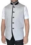 Mens Cream Jute Nehru Vest Jodhpuri 5 Button