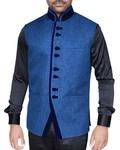 Mens Navy Blue Nehru Vest Formal Elegant