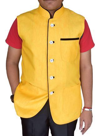 Mens Yellow Linen Nehru Vest Party Wear 5 Button