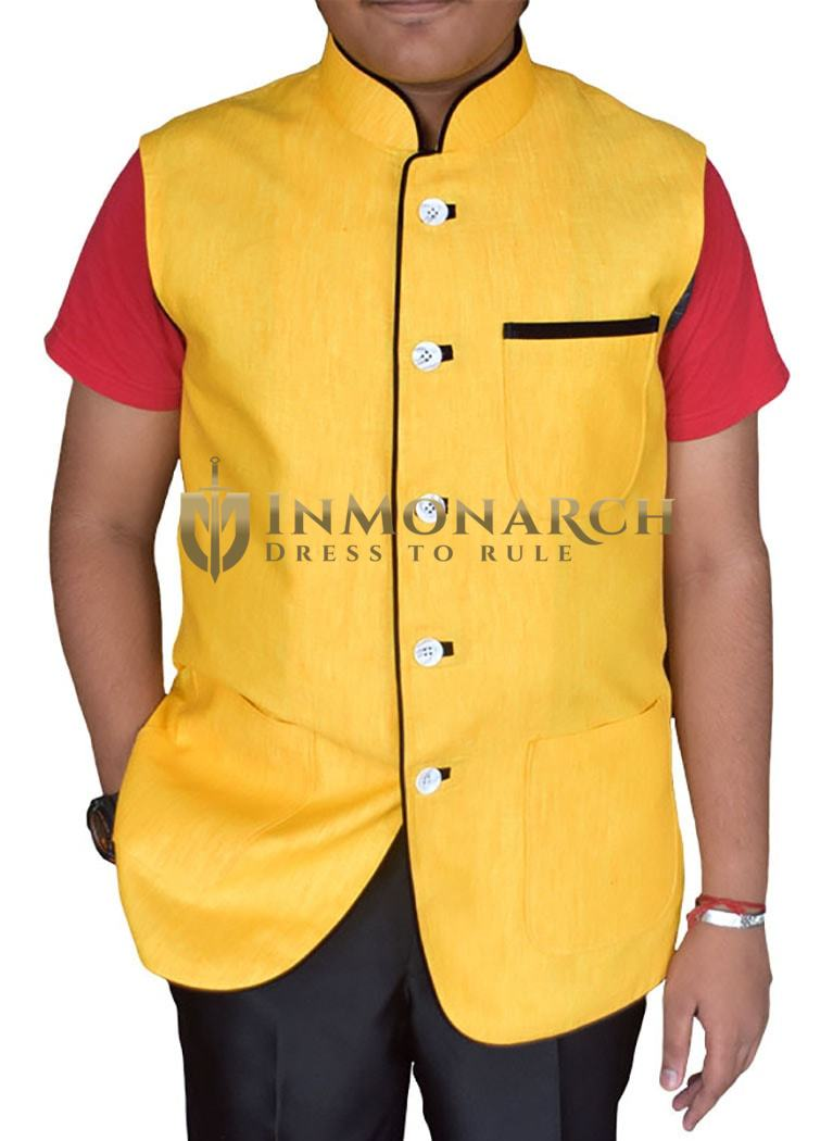 Mens Yellow Linen Nehru Vest Party Wear 5 Button