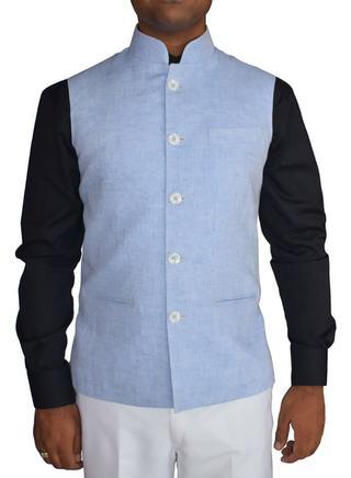 Mens Sky Blue Linen Nehru Waistcoat 5 Button